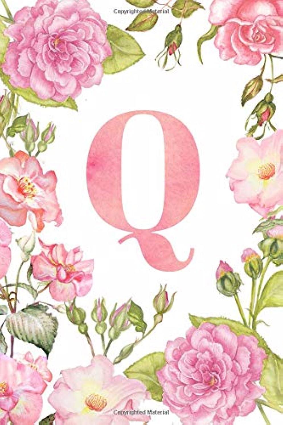 相対的気絶させる電話に出るQ: Monogram Initial Journal Notebook for Women and Girls Watercolor floral 6x9 120 dotted grid pages