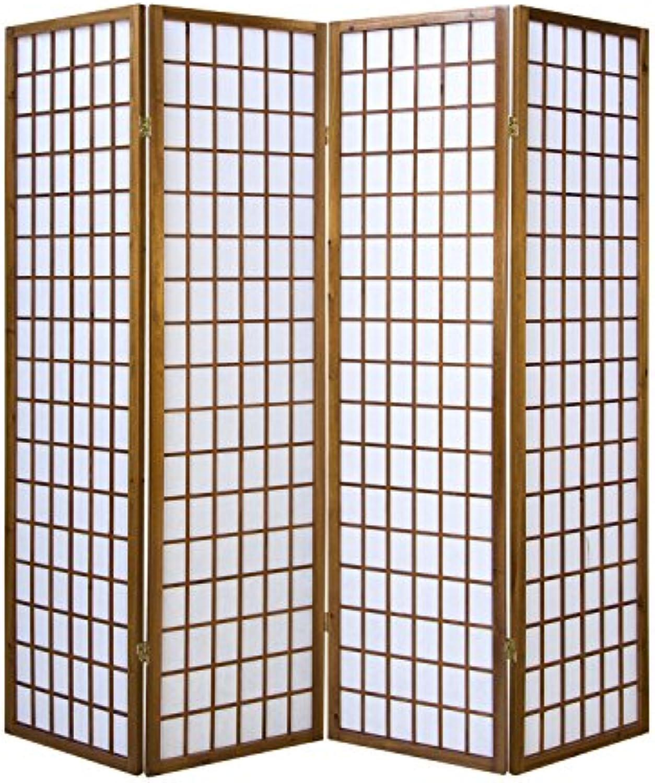 Homestyle4u 163, Paravent Raumteiler 4 teilig, Holz Braun Tabak, Reispapier Wei, Hhe 175 cm