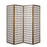 Homestyle4u 163, Paravent Raumteiler 4 teilig, Holz Braun Tabak, Reispapier Weiß, Höhe 175 cm