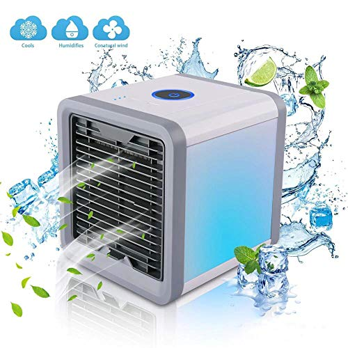 Portable Air Cooler, Mini Airco Koeler En Luchtbevochtiger, Luchtreiniger En Aroma Diffuser, 3 Ventilatorsnelheden, 7 LED Verlichting Air Cooling Fan Voor Thuiskantoor,Gray