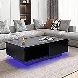 Coffee Table with LED Lights, High Gloss Coffee Side...