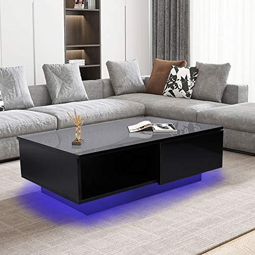 Cocoarm Beistelltisch Kaffeetisch Schwarzer Couchtisch Moderner Stil Wohnzimmertisch 95 x 60 x 31.5cm Wohnzimmer Aufbewahrungstisch mit Schublade und LED-Licht, EU Stecker