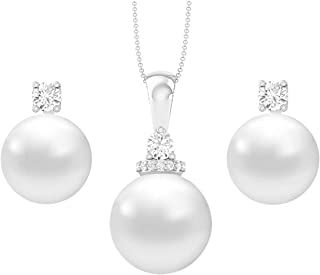 Clara 92.5 Sterling Silver Classic Pearl Pendant Earrings Set with Chain Jewellery Set Gift for Women and Girls