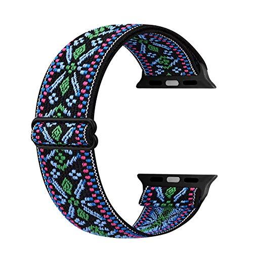 Ecogbd - Cinturino di ricambio elastico compatibile con Apple Watch Strap 38 mm, 40 mm, 42 mm, 44 mm, tessuto di nylon morbido, compatibile con iWatch Series 6, 5, 4, 3, 2, 1, SE(38 mm/40 mm, Boemia)