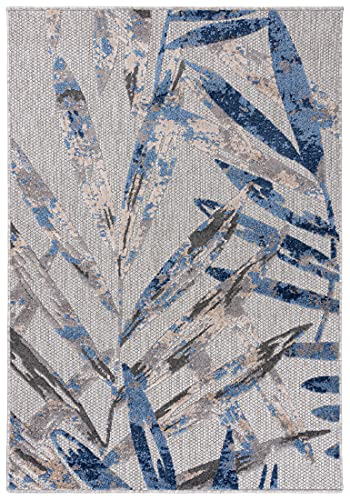 Carpeto Rugs Blattmuster In- & Outdoor Teppich Wetterfest für Balkon, Terasse - Balkon Teppich Wasserfest - Outdoorteppich Wetterfest - Aussenteppich Terrasse Groß - Grau Blau 1 - 120 x 170 cm
