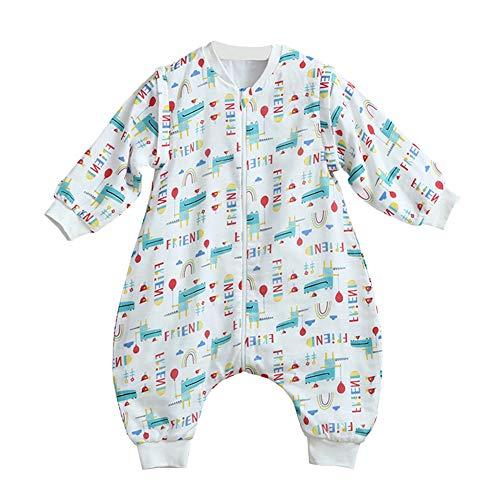 YFCH Baby/Kinder Jungen/Mädchen Schlafsack Kinderschlafsack Langarm Schlafsack Baumwolle Musselin Babyschlafanzug Schlummersack mit Bein, Grün Krokodil, 104/110(Label: 90)
