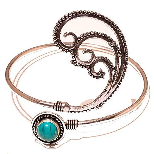 BRAZALETE / PULSERA azul turquesa para mujer, tamaño libre, chapado en plata esterlina, joyería artística hecha a mano, tienda de variedad completa