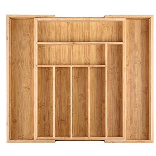 Edaygo Boîte à couverts Organisateur de boîte à tiroir, Range Couverts, bambou, taille réglable, 7 à 9 compartiments, 33,7-50 x 44,5 x 5 cm (L x L x H)