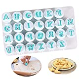 The upper case letter embosser cutter, cute、easy to use and clean, simply wash stamps with hot water and leave to air-dry. Made of BPA-free food grade plastic, essential kitchen tool & great gift - Kids love using them; fun, unbreakable and with no s...