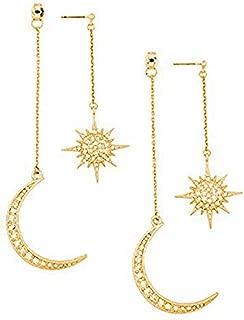 Dainty Crescent Earrings Sunburstand and Moon Dangle Drop Earrings Celestial Galaxy Jewelry