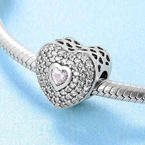DASFF Plata de Ley 925 Moda Rosa Capas Corazón CZ Beads Fit Original Charm Bracelet Jewelry Making Regalo de San Valentín