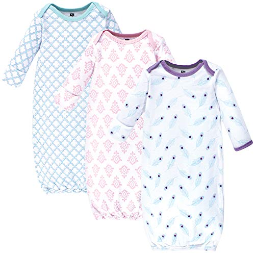 Hudson Baby Unisex Cotton Gowns, Peacock Feathers, 0-6 Months
