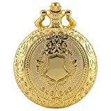 Reloj De Bolsillo con Cadena Patrón De Corona Dorada Reloj De Bolsillo De Cuarzo Collar De Lujo Colgante Reloj Steampunk Coleccionables Regalos 80 Cm