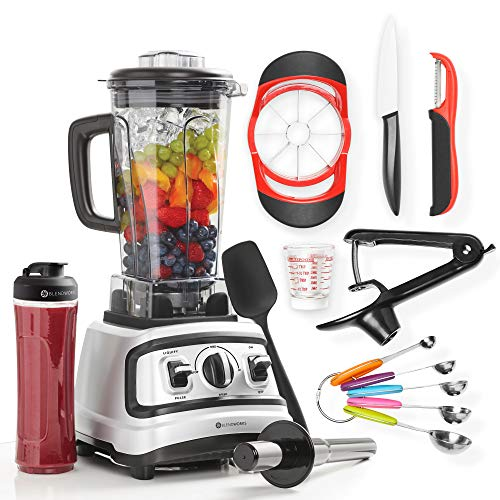 10 Pc All-In-One High Speed Blender Set, Industrial Strength (Incl: Tamper, Spatula, To-Go Cup, Ceramic Knife, Cherry Pitter, Apple Slicer, Measuring Cup & Spoon Set, Swivel Peeler), 1500W, 2.0 HP