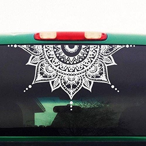 CELYCASY Mandala Car Decal - Car Decal Mandala Sticker - Half Circle - Half Moon Mandala - Yoga, Boho, Flower Decal - Mens Womens Car Sticker - H4