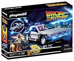 Head Back to the Future in the iconic, time-traveling DeLorean! Complete with working lights and the must-have flux capacitor, the DeLorean is ready to go once Dr. Emmett Brown arrives with the plutonium cores! Then the action begins as Marty McFly a...