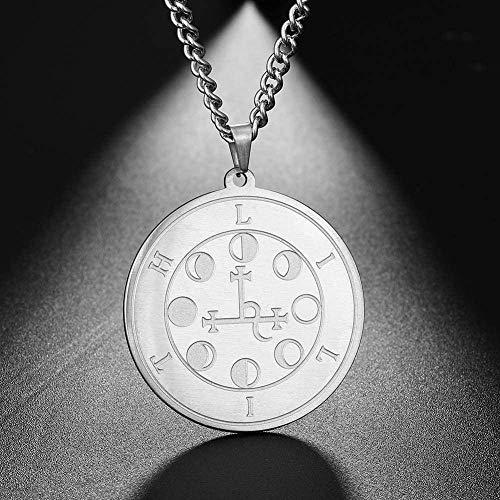 POIUIUYH Co.,ltd Halskette Lilith Siegel Nacht und Mond Dämon Göttin Solomon Magic Anhänger Kabbala Amulett Männer Halskette Edelstahl Schmuck