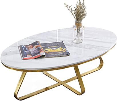 Modern Oval Coffee Table White Natural Marble With Golden Base Side Table Living Room Table Sofa Balcony Table White Amazon De Kuche Haushalt
