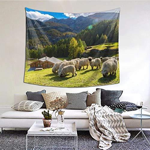 ZVEZVI Alpes suizos Valais Blacknose Sheep Nest Animales Naturaleza Tapiz Colgante de Pared, Tapices Manta de Pared Arte de Pared para Sala de Estar Dormitorio Decoración del hogar 60 x 51 Pulgadas
