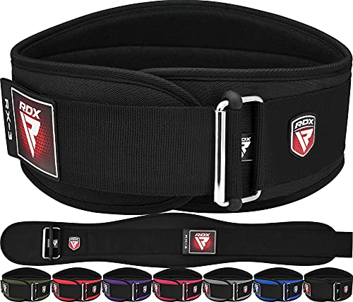 """RDX Weight Lifting Belt, 6"""" Curved Padded Back Lumbar Support, Functional Fitness Strength Training, Core Exercise Workout Bodybuilding Powerlifting Deadlifts Squats, Home Gym Equipment"""