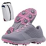 Shhyy Zapatos De Golf para Mujer,Zapatillas De Deporte Ligeras Y Transpirables Impermeables para Verano, Golf Calzado De Casuales Antideslizantes de Gran Tamaño+Golf-Bolsa De Zapato,Rosado,9.5US