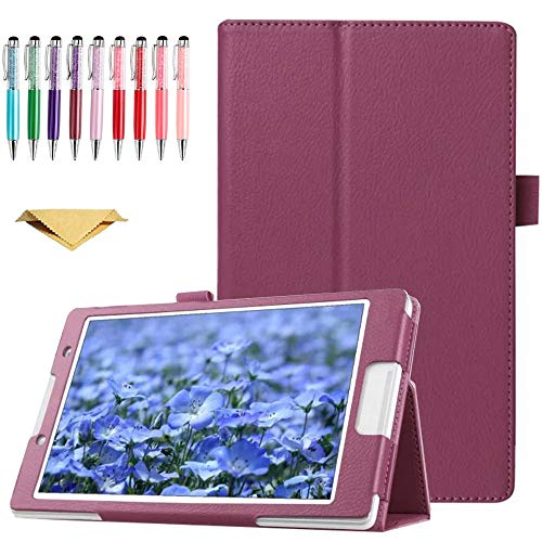 QYiD Case for Galaxy Tab E 9.6' SM-T560, Slim Folding PU Leather Cover with Stylus Holder for Samsung Galaxy Tab E 9.6 T560 T567 T560NU T560NZ, Purple