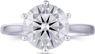 DovEggs 镀铂金银色 3 克拉 9 毫米 G-H-I 色透明心形箭头切割莫桑石订婚戒指女式