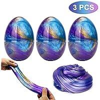 Luclay Galaxy Fluffy Slime Slime con 3 Contenedores en Forma de Huevos y Remolino de Stress Relief DIY Juguetes para niños Adultos