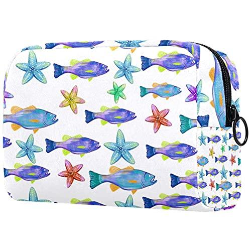 Aquarell Bass Fisch Hintergrund, Make-up Bag Travel Kleine Kosmetiktasche Case Organizer Kleine Toilettenartikel für Frauen Geldbörse Tote Handtasche DIY Design