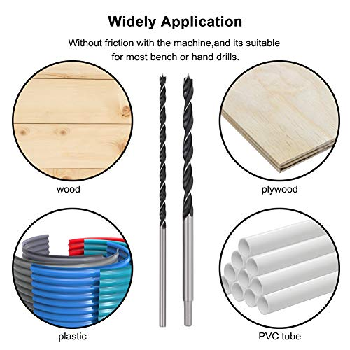 "COMOWARE 12"" Extra Long Brad Point Drill Bit Set - 300mm Carbon Steel Wood Drill Bit Set for Hardwood, Plywood, Plastic, 7Pcs   1/8'', 3/16'', 1/4'', 5/16'', 3/8'', 7/16'', 1/2''"