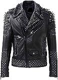 III-Fashions Men's Brando Biker Rock Punk Studded Spike Black Motorcycle Leather Jacket