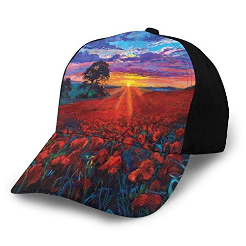 Unisex Hats Baseball Caps Hats Dad Hat Scenery of Poppy Flower Garden On Valley with Horizon and Fairy Clouds at Sunset Paint
