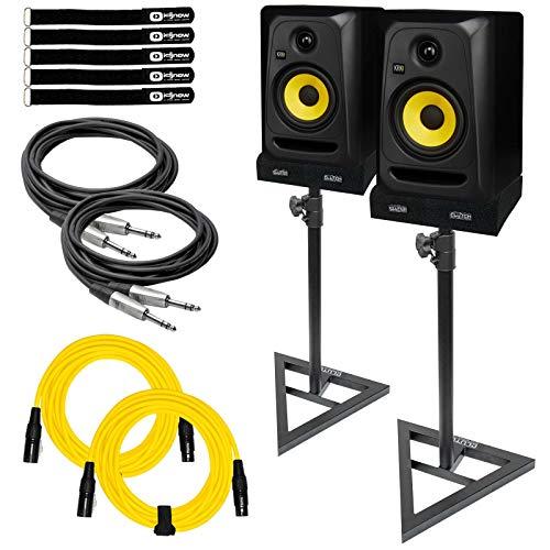 "KRK Rokit 5 CL5G3 5"" Classic Active Studio Monitor Speaker Pair w Stands & TRS"