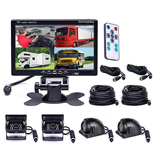 Vehicle Backup Cameras Monitor kit 4 Pin System 12V/24V,4 x Front Side Rear View Camera + 7' inch HD Quad Split 4CH Car LCD Monitor for Bus Truck Trailer Caravan Camper RV