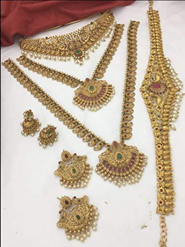 Artesanía con amor un hermoso juego de 6 piezas, 3 collares con 2 pares de pendientes, 1 cinturón de cintura se ve bien en cualquier mujer.