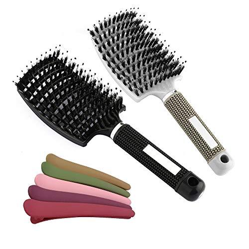 Haarbürste Wildschweinborsten, OneChois Gebogene Vent Haarbürsten für Dünnes Haar Haarbürste für Damen Herren Hairstyle Hilfe mit 4PCS Haarspange (vollständiger Satz)