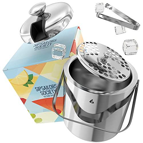 Sipsailors Eisbehälter aus Edelstahl mit Deckel und Eiszange - Doppelwandiger Eiseimer für Ice Cubes und Crushed Ice in bunter Party Geschenkverpackung