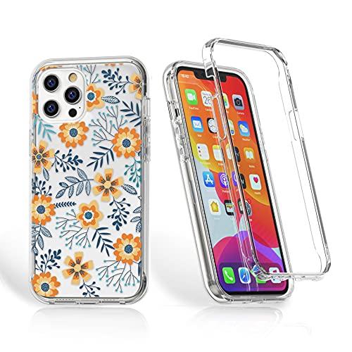 Compatibile con iPhone SE 2020/iPhone 8/iPhone 7, protezione a 360°, antiurto, custodia protettiva 2 in 1, protezione completa con pellicola protettiva per display e silicone TPU, motivo floreale