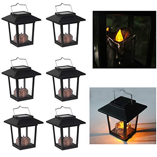 PopHMN Zonne-lantaarns, 6 stks opknoping Zonne-Kaars Lantaarn Waterdichte LED Outdoor Tuin Licht Flickering Flame Lamp