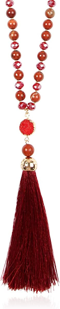 Phoenix Mall Bohemian High quality Tassel Pendant Beaded Long - Sparkly Statement Necklace