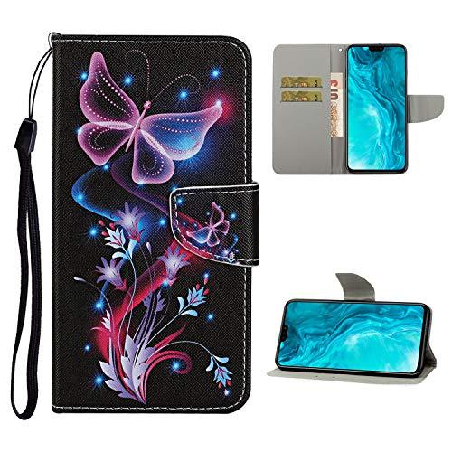 Nadoli Brieftasche Etui für Xiaomi Mi Note 10,Lila Blumen Schmetterling Muster Bunt Pu Leder Lanyard Standfunktion Magnetisch Handyhülle Schutzhülle Lederhülle mit Kartenfach