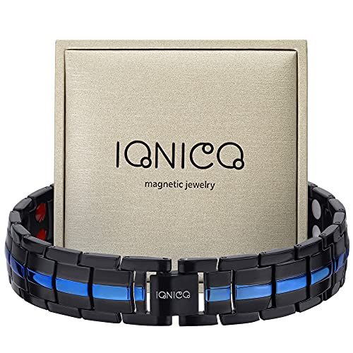 IONICO Magnetic Bracelet for Men and Women   Stress & Pain Healing Product   Alternative Blood Pressure and Circulation Medicine   Balance Therapy for Wellness and Strength (Black-Blue)