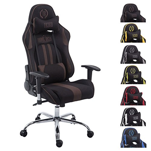 CLP Silla Racing XL Limit V2 Tapizada en Tela I Silla Gaming con Soporte Metal I Silla Oficina con Ruedas I Silla Gamer Regulable en Altura I Color: Negro/marrón, Sin reposapiés