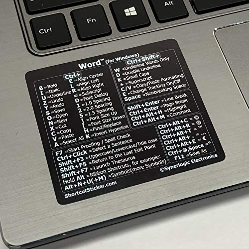 Synerlogic Electronics Microsoft Word (for Windows) Cheat Sheet Reference Guide Keyboard Shortcut Sticker - Material Vinyl, Temporary Adhesive - Size 2.8x2.5 (Black)