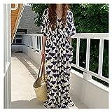 Elegante elegante de las mujeres Diseño de cruce de cuello en V delgado Restauración Antigua maneras con la impresión de la bolsa de cintura femenina Vestido de manga corta Vestido de verano Playa de