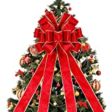 Lulu Home Christmas Tree Topper, 48' x 13' Red Large Velvet Bow with Long Streamers, Wired Edge...
