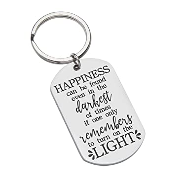 Inspirational Graduation Keychain Gifts For Men Women Teen Boys Girls Friends - BFF Gifts- Harry Potter Fans-Happiness Can Be Found Even in The Darkest of Times Birthday Graduation Albus Dumbledore