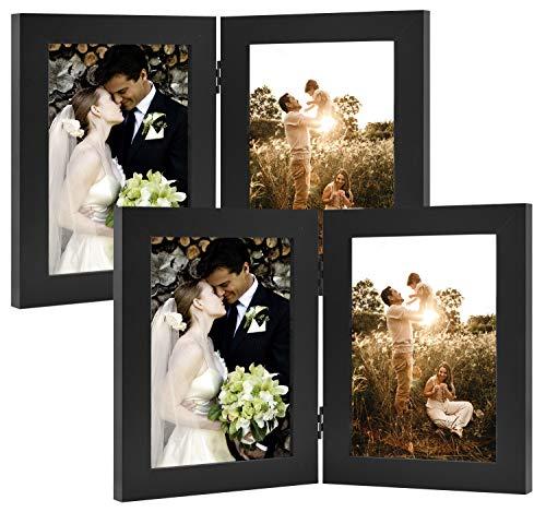 Golden State Art Dekorativer Bilderrahmen mit Klapptisch und 2 vertikalen Öffnungen aus Echtglas 5x7 (2-Pack) schwarz