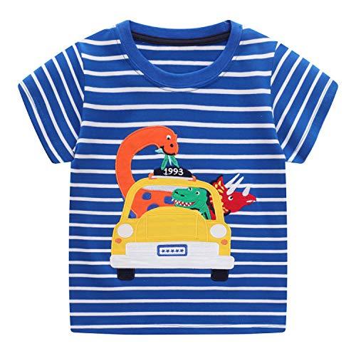 FILOWA Niño Camiseta Manga Corta Algodon Camisetas Verano Casual Dibujos Azul Rayas Dinosaurio Auto Impresión Ropa Chico Sudadera Deporte Chandal 1 2 3 4 5 6 7 Años