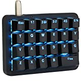 Koolertron One Handed Macro Mechanical Keyboard,Blue LED Backlit Portable Mini One-Handed Mechanical Gaming Keypad 23 Fully Programmable Keys (Blue Backlit/Blue switches)